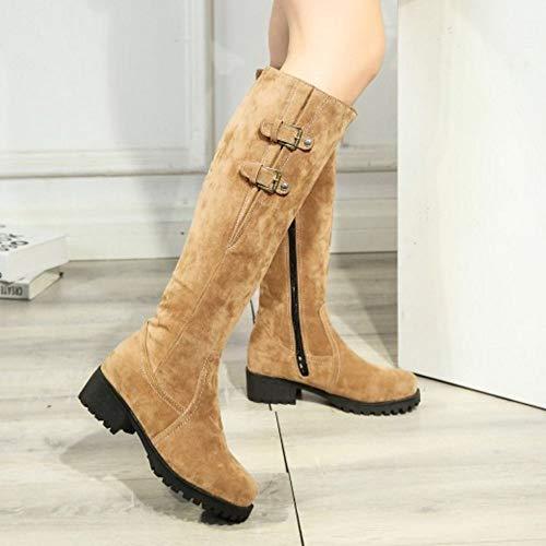 Boots Bottes Fermeture Chaudes Eclair warm Chevalier Jaune De Hiver Taoffen Hautes Femmes nqR4tn8X