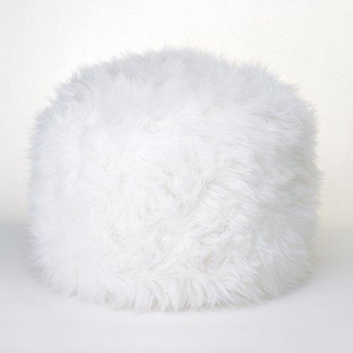 Fuzzy White Ottoman Pouf (Ottoman With Storage Furry)