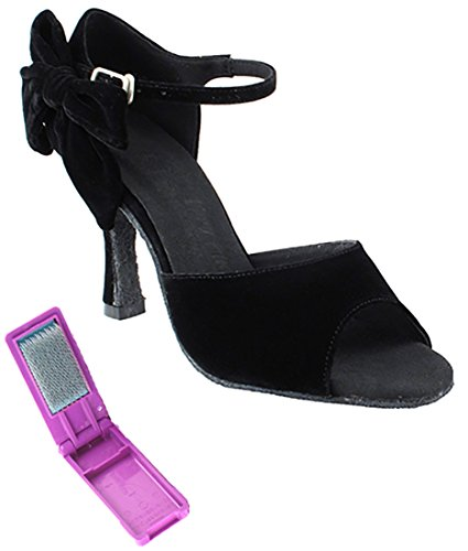 Very Fine Ballroom Latin Tango Salsa Dance Shoes for Women SERA7010 2.5-Inch Heel + Foldable Brush Bundle Black vqemp5