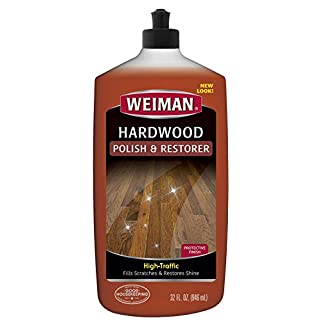 Weiman Wood Floor Polish and Restorer - 32 Ounce - High-Traffic Hardwood Floor, Natural Shine, Removes Scratches, Leaves Protective Layer, Packaging May Vary