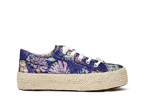 Laces CAFèNOIR DH904 Woman Shoes Platform Sneakers Rope multichip 548 Multiblu Noir CAF gaqxrg0