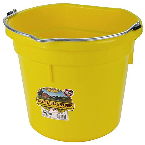 Image of Miller Manufacturing P20FBYELLOW Plastic Flat Back Bucket for Horses, 20-Quart