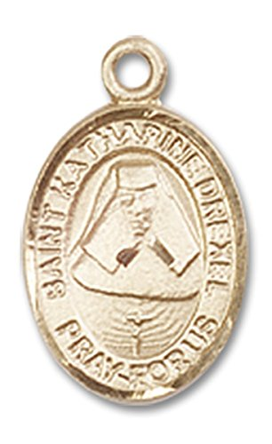 14 Karat Gold Saint Katharine Drexel Medal Petite Charm Pendant, 1/2 - Drexel Pendant Medal Katharine