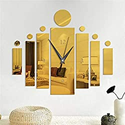 dozenla 3D Wall Clock Sticker Rectangular Wall Clock Mirror Wall Stickers Acrylic Clocks Modern Design Big Clocks for Living Room