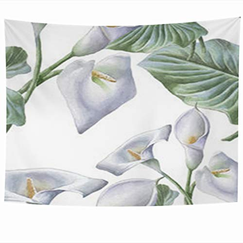 Alfredon Wall Tapestry Hanging, 80 x 60 Inches Nature Watercolor Calla Hand Lily Flowers Leaves Green Tapestries, Decor for Home Bedroom Living Room Dorm