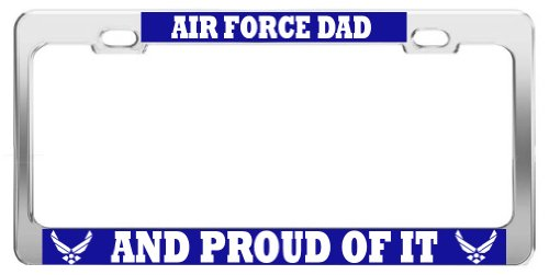 Product Express AIR Force DAD and Proud of IT ST1 United States U.S. Army Steel License Plate Frame