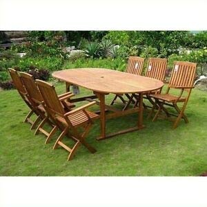 - JumpingLight Royal Tahiti 7 Piece Wood Patio Dining Set Durable and Ideal for Patio and Backyard