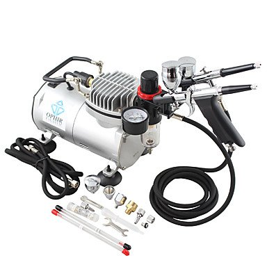 110V,220V 2-Airbrush & Compressor Kit Double Action Spray Air Brush Set Tattoo Nail Art , 220v by HJLHYL (Image #1)