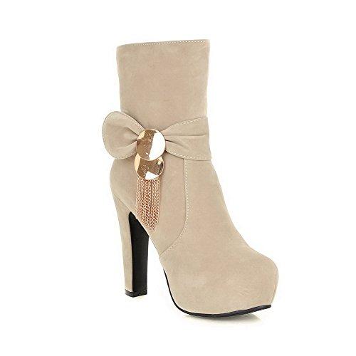 AdeeSu Ladies Chunky Heels Platform Metal Ornament Frosted Boots Beige