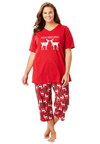 Dreams & Co. Women's Plus Size 2-Piece Capri Pajamas Classic Red Reindeer,4X by Dreams & Co.