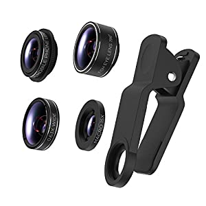 TURATA iPhone Lens 4 in 1 Lens Kits, 198°Fish eye + 0.63X Wide Angle + 15X Macro + CPL Lens , HD Clip-on Lens Kits for iPhone 8, 7, 6s, 6, 6 plus, 6s plus, 5s, Samsung Most Smartphones (4 in 1)