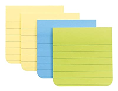 Post-it Super Sticky Full Adhesive Notes, 2x Sticking Power, Assorted Colors, Lined, 4 pads/pack, 25 sheets/pad