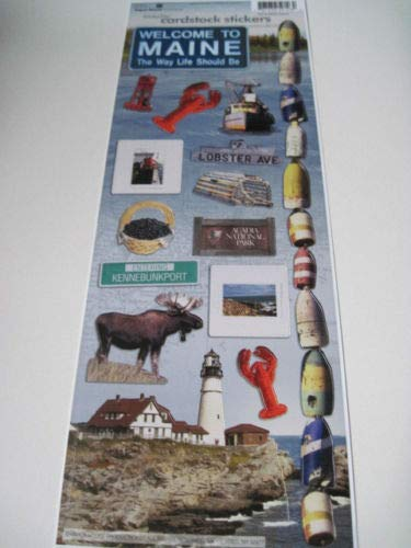 """Sticker Scrapbooking Paper House Maine Lobster Lighthouse Moose Berries 13"""""""