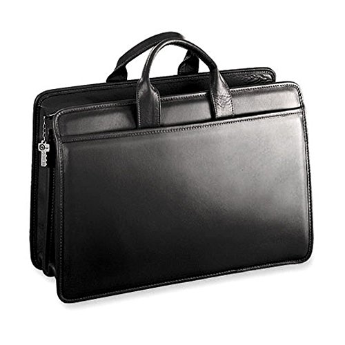 m Double Gusset Top Zip Leather Briefcase in Black (Jack Georges Brief Bag)