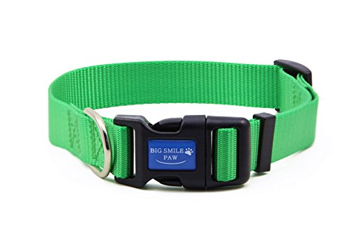 (BIG SMILE PAW Dog Collar Adjustable,Quick Release Nylon Dog Collar (S, Green))