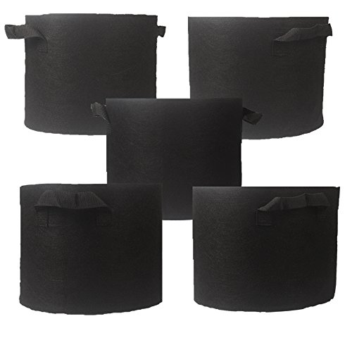 Casolly 10-Gallon 5-Pack Aeration Fabric Pot/Planting Grow Bag w/Handles ,Black for sale