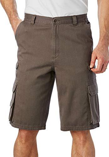 Ash Mens Shorts - Boulder Creek Men's Big & Tall Side-Elastic Twill Cargo Shorts, Ash Brown Big-66