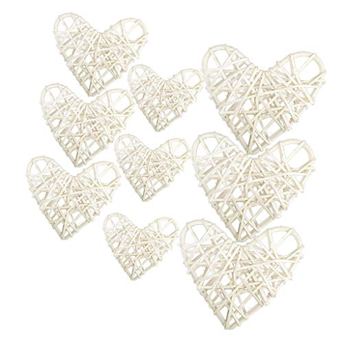 Baosity 9Pcs 3 Sizes Mixed Heart Shaped Wicker Rattan Balls - Decorative Orbs Spheres DIY Wedding Decoration, Christmas Tree, House Ornaments, Vase Fillers - White