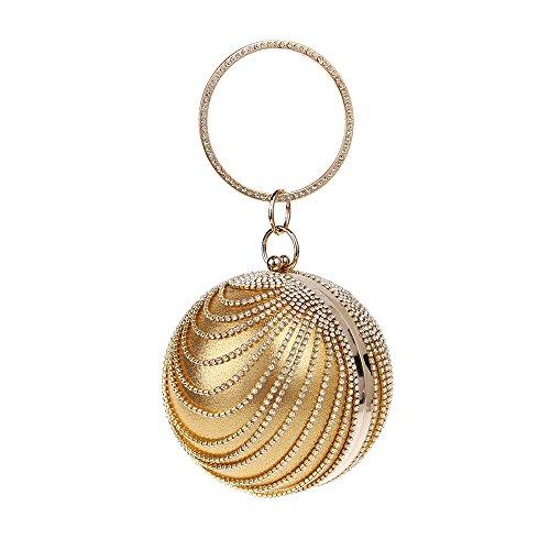 Dames Robe Bracelet Main Main Soirée Sac Pochette Ballon Métal Gold Diamond Banquet Sac à En Rond à wIxZrIqFY