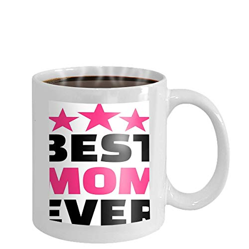 Coffee cup mug best mom ever gold lettering spray mothers day card golden letter white background vector illustration 11oz