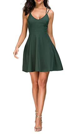 63968d927894 TOP-MAX Women s Sleeveless Elegant Cocktail Dresses Crew Neck-Sexy Cute  Mini Swing Dress for Party -Black Red Green at Amazon Women s Clothing  store