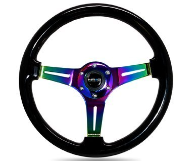 NRG Innovations ST-015MC-BK Classic Wood Grain Wheel (350mm 3 Neochrome spokes - Black Paint (Woodgrain Steering Wheel)