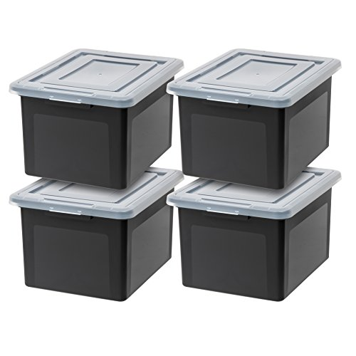 IRIS USA, Inc. R-FB-21E Letter and Legal Size File Box, Black, 4 Pack (File Storage Bins)