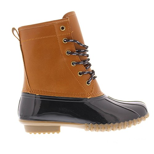 Combat Boot up Duck Waterproof Toe Boot Outdoor Boots Rubber Women's Quack Rain Boots Lace Welly Weather Cognac Gold All 748PnXwPx