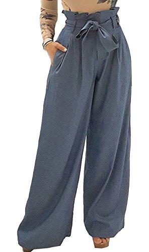 Autunno Chic Eleganti Tempo Pantaloni Ragazza Abbigliamento Waist Pantalone Palazzo Monocromo Culotte Primaverile Bendare Lunghe Fashion High Donna Larghi Libero Baggy Hellblau xPIEqOP
