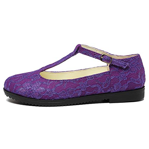 getmorebeauty Women's Purple Mary Janes Flats T Straps with Lace Wedding Shoes Low Heel Shoes 10 B(M) US ()
