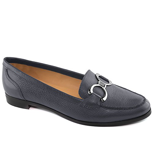 Driver Club USA Women's Genuine Leather Made In Brazil Austin Fashion Comfortable Navy Grainy Buckle Loafer 5.5