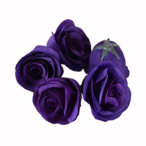 Dark purple flowers amazon 50pcs artificial silk 31 rose head colorfulife simulation flower beautiful wedding home party decoration bridal hair decorative9 colors dark purple mightylinksfo Choice Image