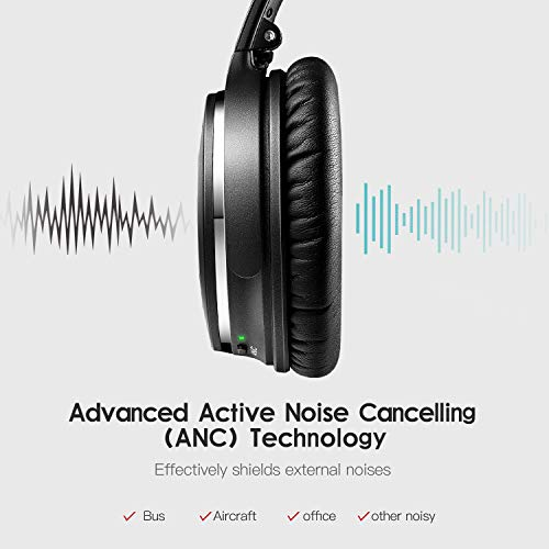 Active Noise Cancelling Headphones, Toptone Foldable Lightweight Bluetooth Headphones Over Ear with Mic Hi-Fi Sound Deep Bass, Comfortable Protein Earpads ANC Wireless Headphones