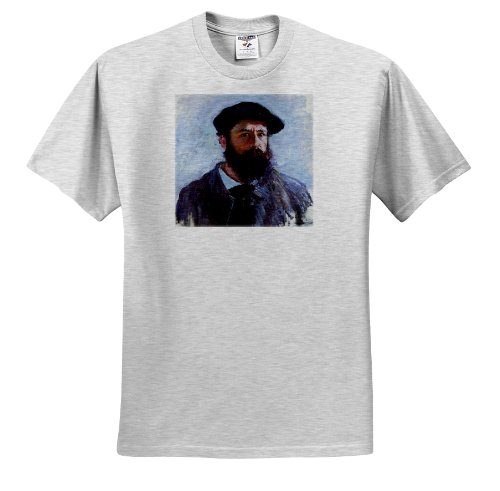 - 3dRose FabPeople - Claude Monet Portraits - Self-Portrait with a Beret, Claude Monet Painting Dated 1886, PD-US - T-Shirts - Adult Birch-Gray-T-Shirt Large (ts_179217_20)