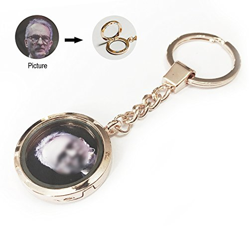 Keyring Keychain Key Chain Ring Keyrings for Women for Girls with Small Photo Frame Rahmen -- Coslife (Rose Golden) (Bronze Rahmen)