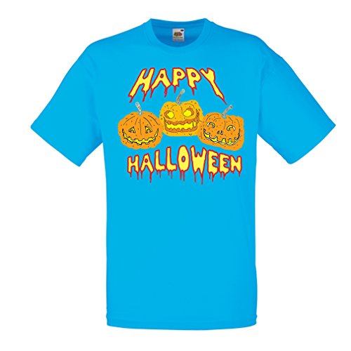 T Shirts for Men Happy Halloween! Party Outfits & Costume - Gift Idea (Large Blue Multi Color)