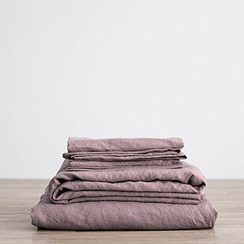 Mauve Linen - Merryfeel Luxurious 100% Pure French Linen Sheet Set - Full - Mauve