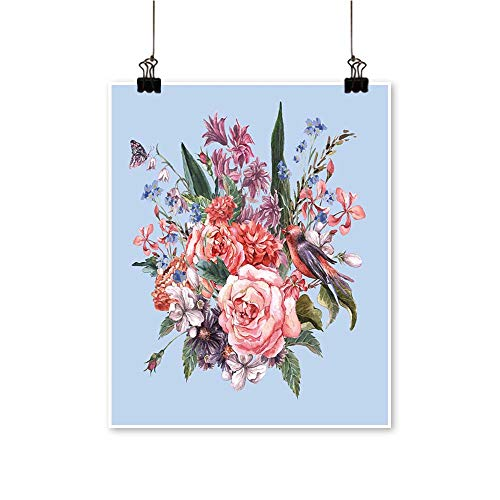 Hyacinth Rose Bouquet - Hanging Painting Gentle SPR Bouquet Roses hyacinths Butterfly wil Flowers in Vintage Style Rich in Color,24