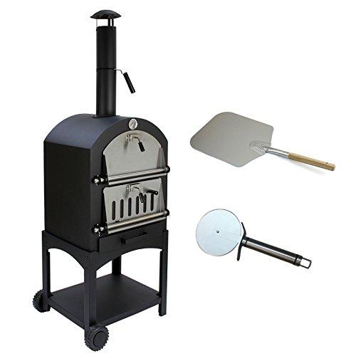 KuKoo Pizza oven buiten – inclusief pizzaschep + pizzasnijder – 64 cm x 43 cm x 156 cm – houtskool -Staal…