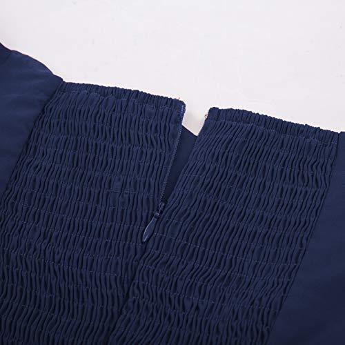 Corta Vestido Belle Cuello Navy Estampado Para Vintage V 4 Blue 485 Hombro Manga Lápiz Poque Retro Sin Delgado Mujer 771qx5w