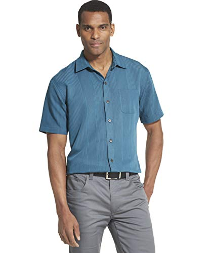 (Van Heusen Men's Big and Tall Air Short Sleeve Button Down Poly Rayon Stripe Shirt, Turquoise Mallard Blue, Large)