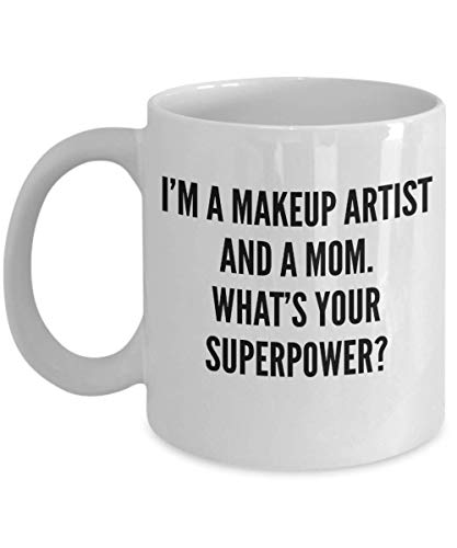 Best Makeup Artist Mom Coffee Mug – Funny Gift for Cosmetologist Mummy – Unique Birthday Christmas Mothers Day Gift Idea for Cosmetic Passion Beautician Mum Woman – Novelty 11oz White Ceramic Tea Cup ()