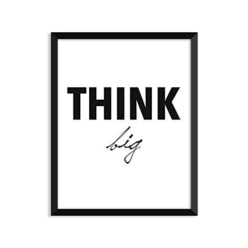 Think Big, Bold-Cursive, Black And White, Scandinavian, Minimalist Poster, Home Decor, College Dorm Room Decorations, Wall Art