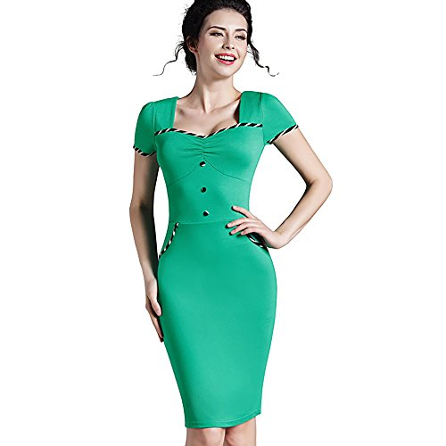 Smartbuyerz Women's Summer Brief Pinup Short Sleeve Square Neck Bodycon Pencil Dress Nice-Forever (Green, - Jersey Aliexpress Review
