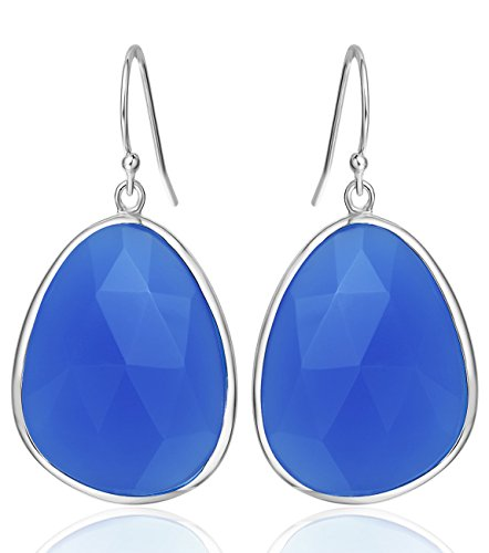 22 Carat Natural Blue Onyx Drop Dangle Earrings Sterling Silver Gemstone Jewelry Gift for Women or Girls Birthday Anniversary (22k Gold Earring Set)