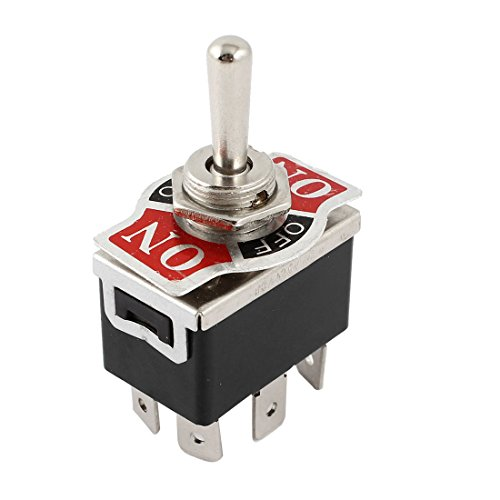 uxcell Vehicle Black 6 Pin 3 Position Momentary On/Always Off/Momentary On DPDT Toggle Switch 125V 15A