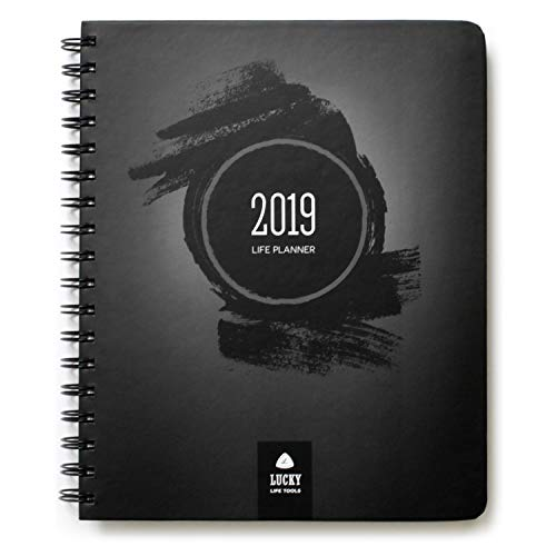 LUCKY Life Planner 2019: Goal Setter + daily/weekly, monthly, and yearly Agenda, Calendar, and Journal (Black Brush)