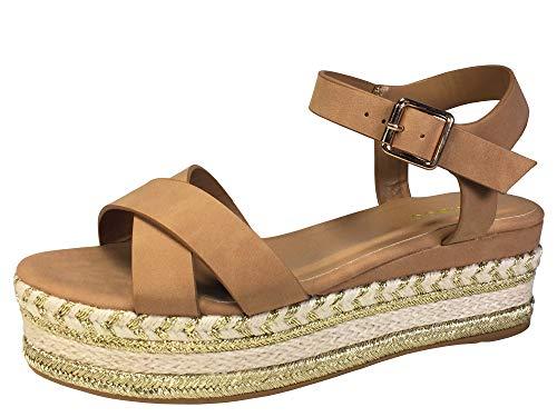 Camel Platform - BAMBOO Women's Cross Band Espadrilles Platform Sandal with Quarter Strap, Camel Nubuck PU, 8.0 B US