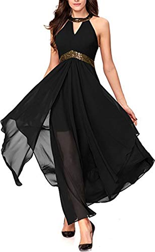 Lrady Women's Halterneck Evening Gown Sleeveless Slim Flare Party Maxi Long Dress Black L