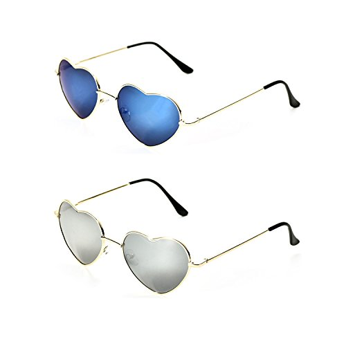 Metal Sol de en Onnea Gafas de Pack Niña 2 Mujer Corazón Mirror SawnF5XqnE